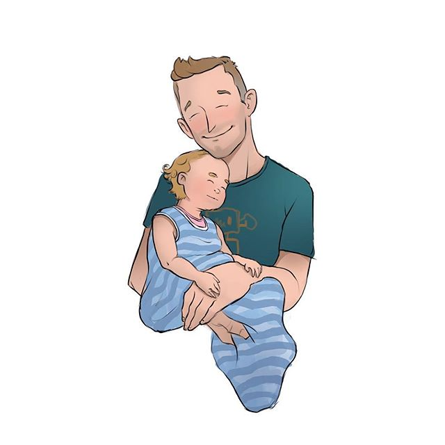 A couple of weeks late for self portrait day. This is my happy place right now :) - - - - - #betterlatethannever #selfportrait #mattyrodgers #cavematty #parenting #snuggle #babylife #love #art #baby #toddler