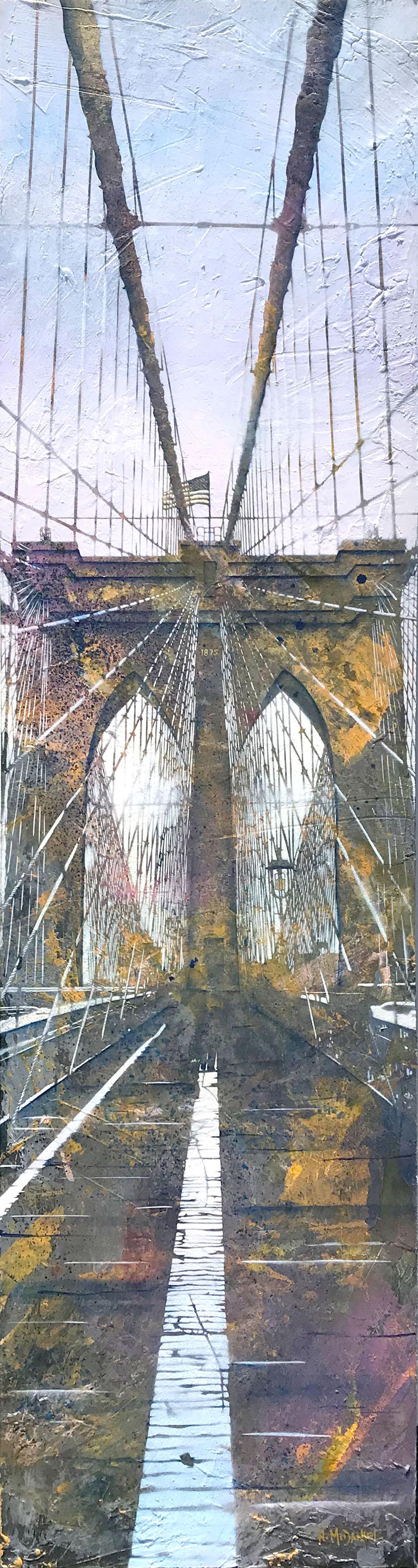 """Welcome to Brooklyn"" (Brooklyn Bridge, New York, New York) Original Painting By Artist Nichole McDaniel  75 x 20 Mixed Media (acrylic, aerosol, gold leaf, on wood panel)"