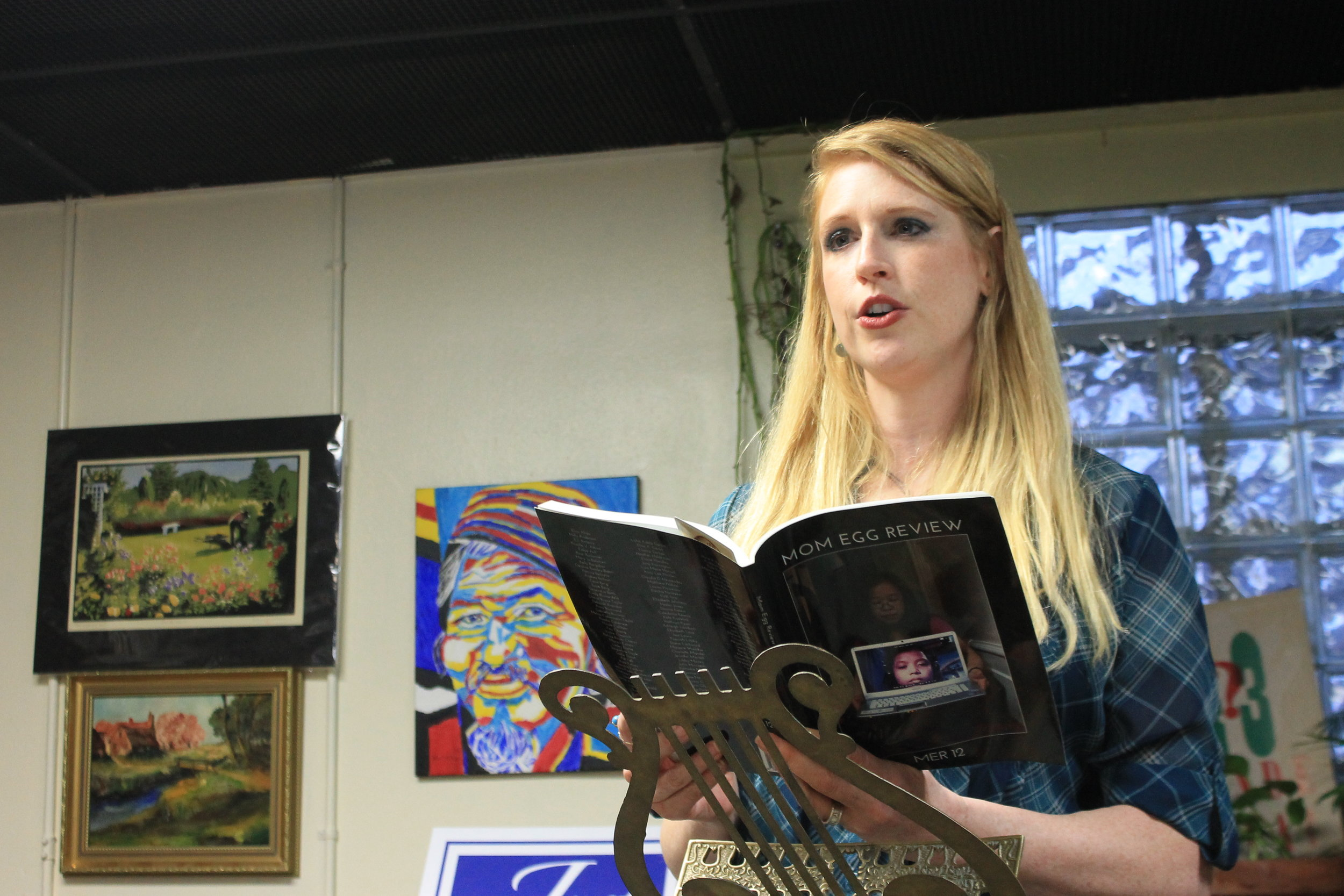 Elizabeth Johnston reads at Just Poets open mic on Wednesday, April 12th at Before Your Quiet Eyes.