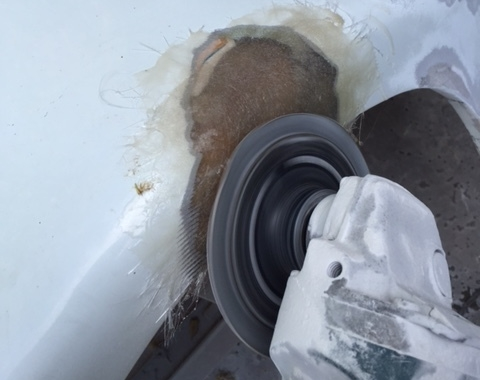 Fiberglass Repair Disk Sanding.JPG