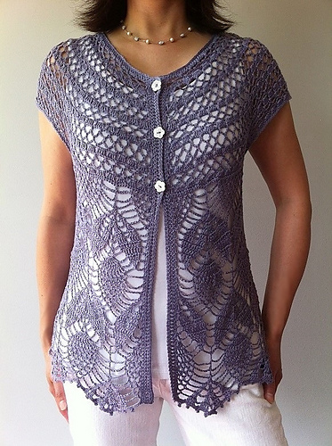 Jamie, a short sleeve crochet vest by Canadian designer,Vicky Chan.