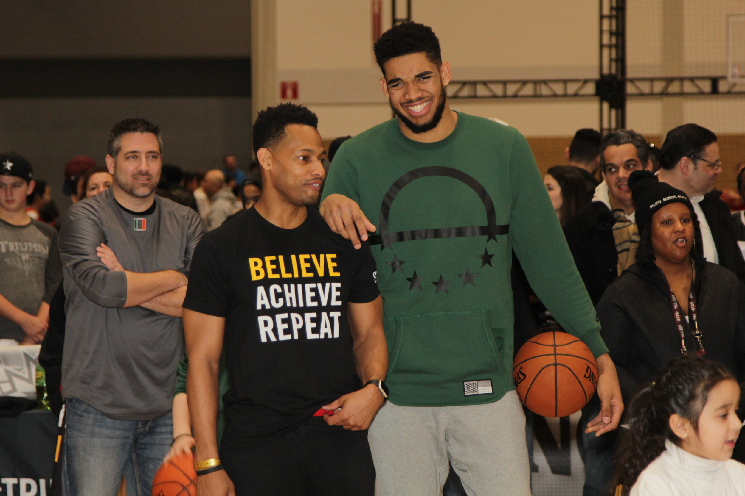 Nick Graham and NBA star Karl-Anthony Towns during an event at the 2016 NBA All-Star weekend.