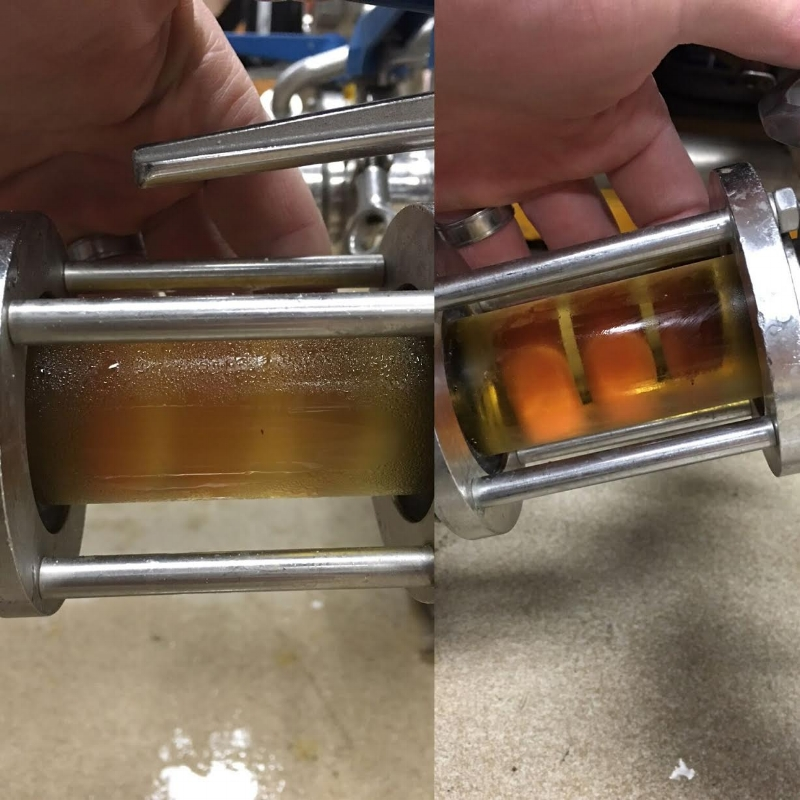 The scientific part of  beer filtration  in action at the Pure Order brewery.