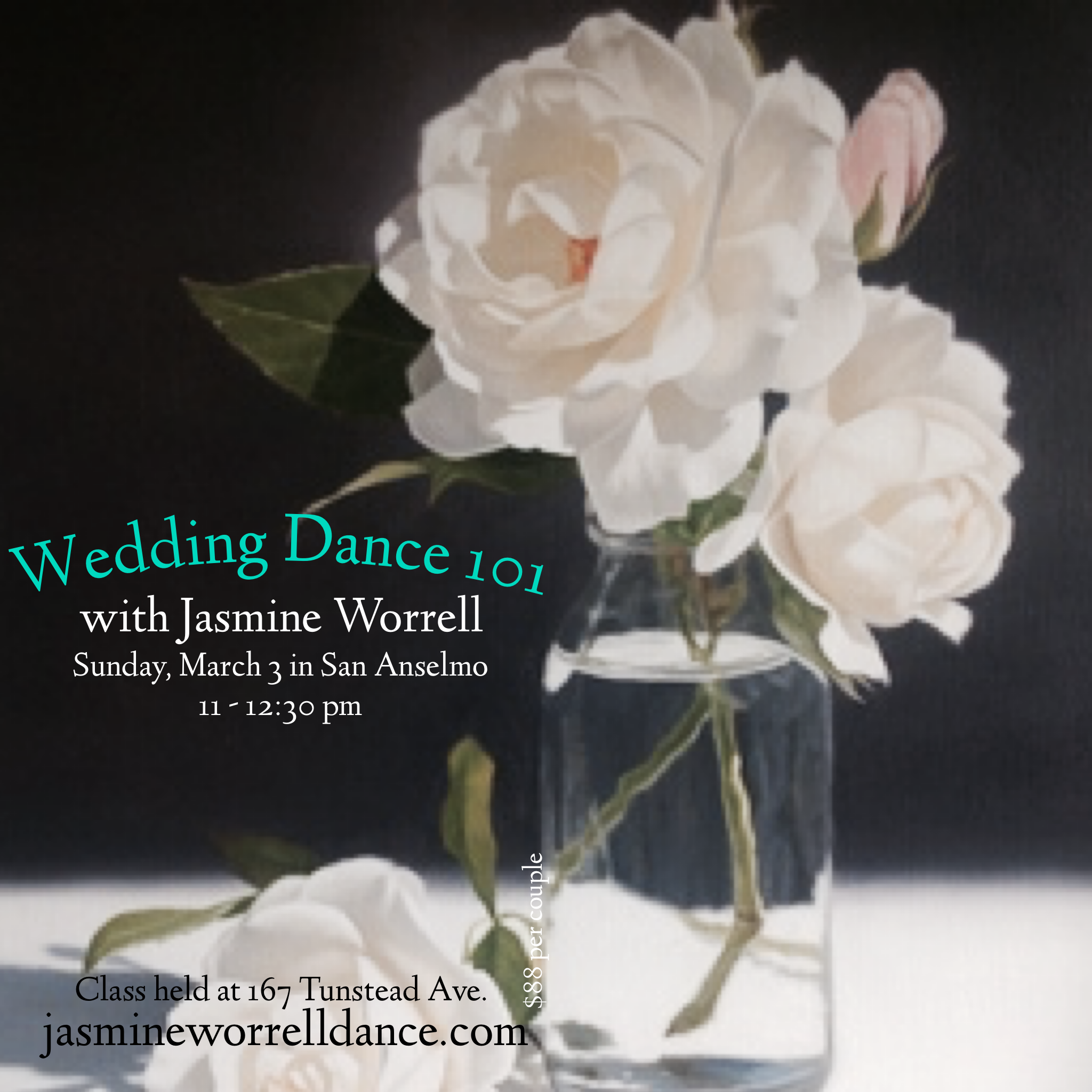 Learn how to dance with grace and confidence - Specializing in 2 left feet! You don't need any dance experience to smash a first dance. Join Jasmine in a fun and open dance class just for those looking to rock their wedding dance with simple, graceful dance moves. Perfect for anyone who want a traditional and romantic or more contemporary style wedding dance.$88 per couple at the door or Early Bird Discount here.