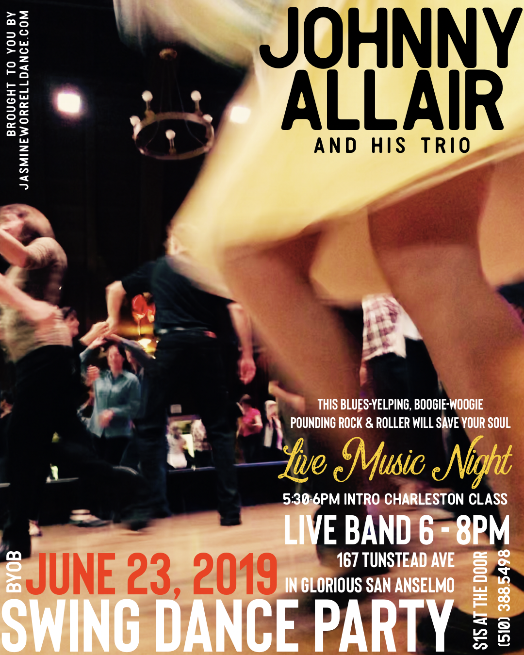 Let's come together and enjoy dancing to live music with JOHNNY ALLAIR and his trio. This will be a party open to everyone + optional intro to Charleston swing dance lesson in San Anselmo. Please join us on the dance floor. Open to all! XO   • Charleston Swing Dance Lesson: 5:30-6PM. • Live Band & Swing Dancing: 6PM and runs until 8PM • BYOB  JOHNNY ALLIAR plays our party! This trio plays live boogie-woogie and killer blues rhythms! Pay at the door for live band + dancing from 5:30-8PM $15.  167 Tunstead Ave. in downtown San Anselmo - Marin Country.