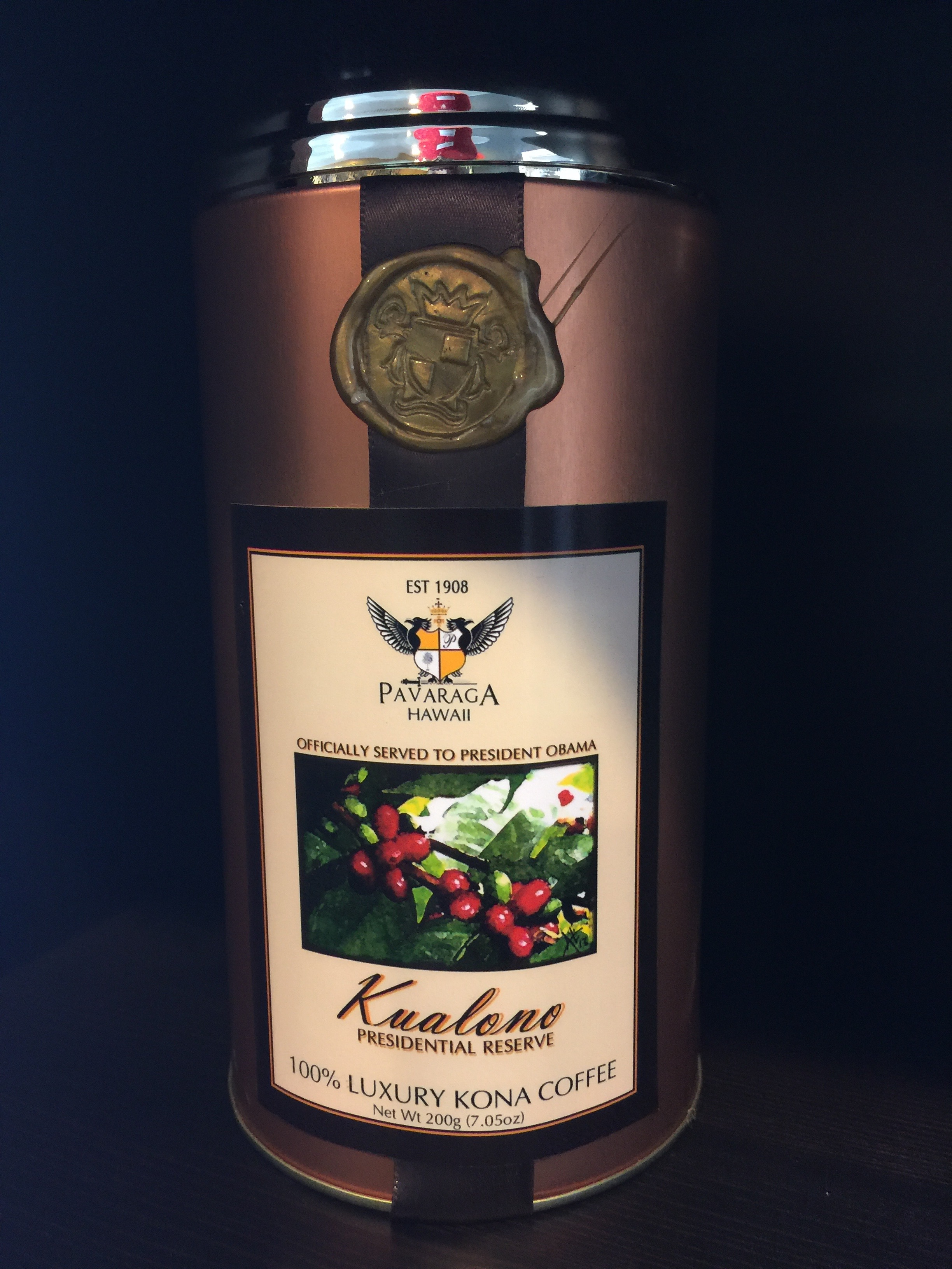 A sample can of the Pavaraga Presidential Reserve Coffee that was served to President Obama.