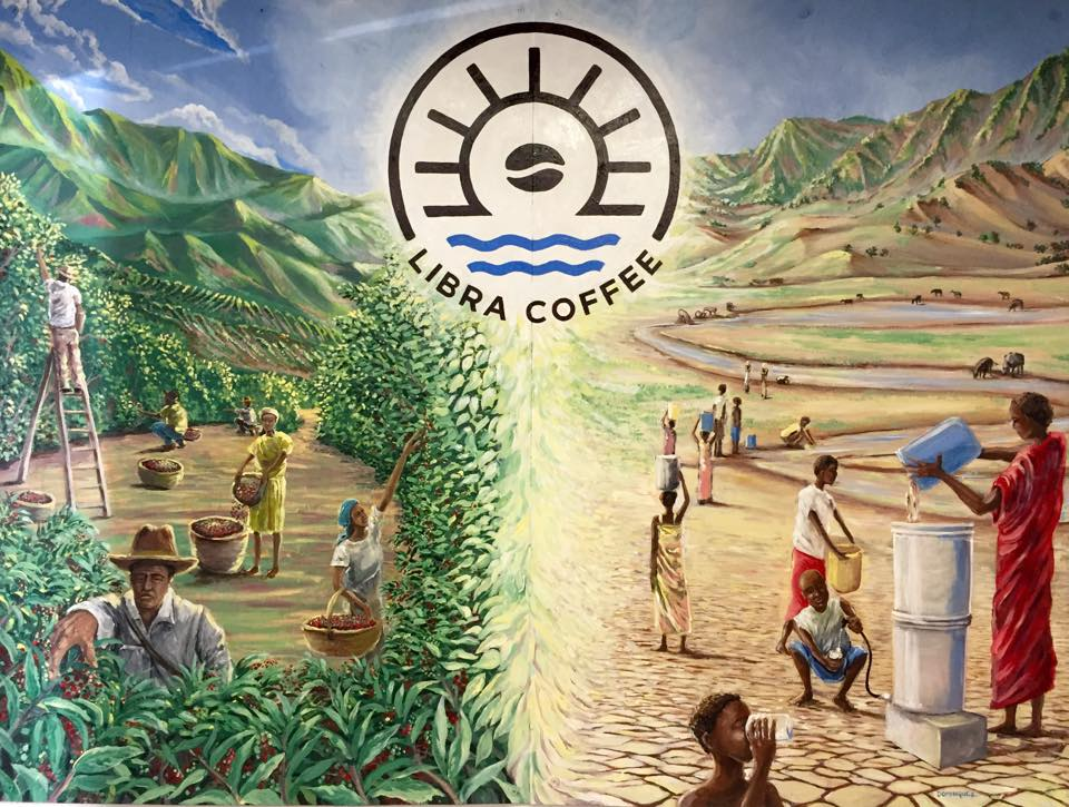 The Libra Coffee mural that Eric commissioned from local artist, Sean Dominguez.