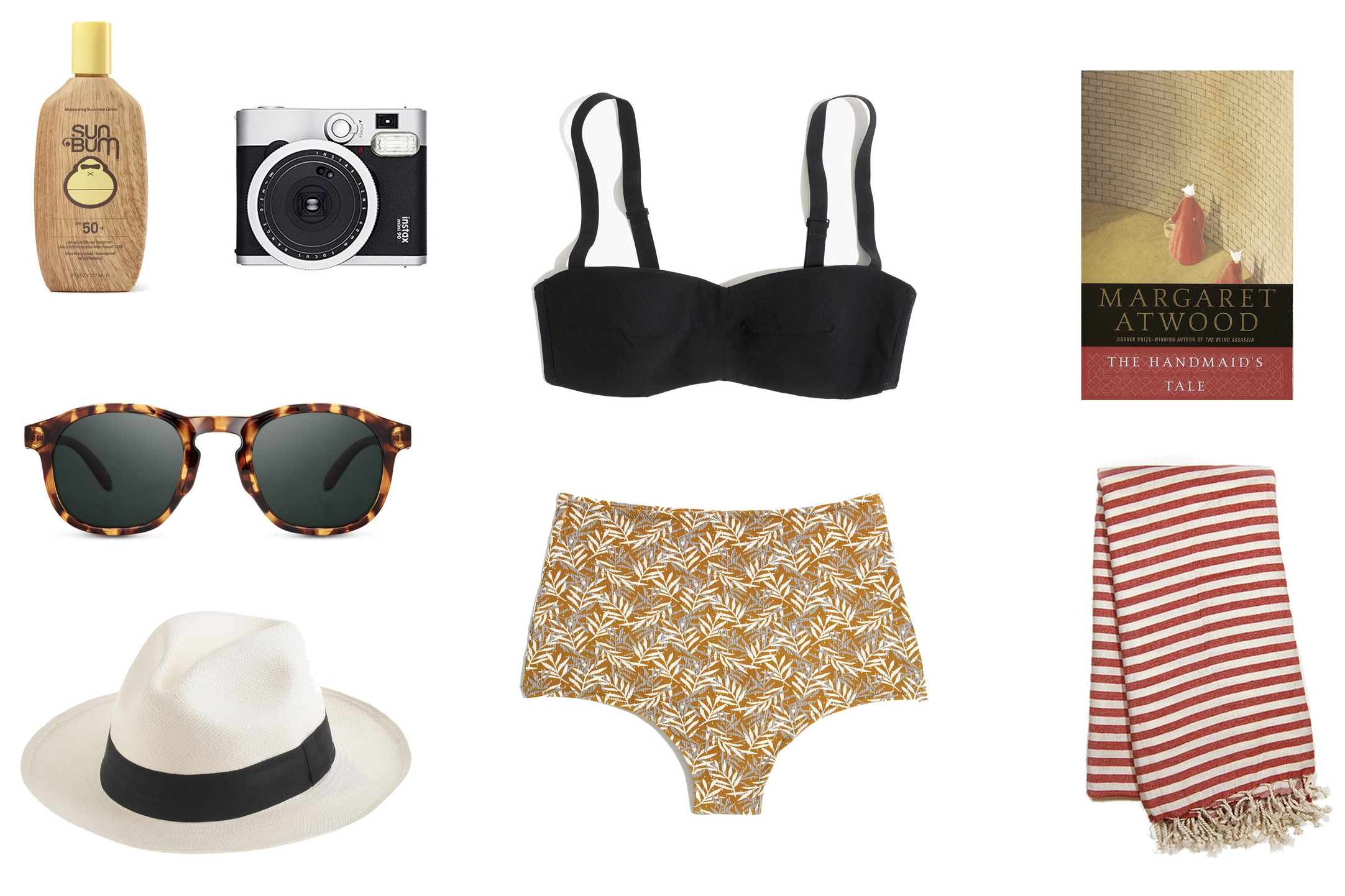 1)  Sun Bum SPF 50 Original Sunscreen Lotion 2)  Fujifilm Instax Mini 90 Neo Classic in Black 3)  Bathing Suit  4)  The Handmaid's Tale by Margaret Atwood 5)  Sunski Foothill Sunglasses  6)  Panama Hat  7) Turkish Beach Towel
