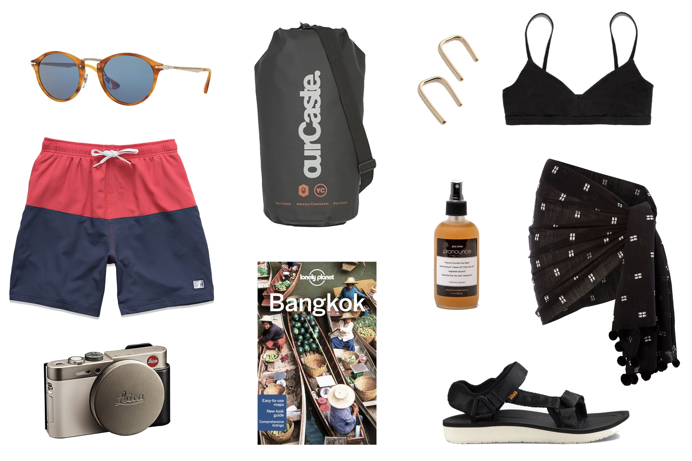 1)  Persol Calligrapher Edition Sunglasses  2)  ourCaste Dry Sack in Black  3)  Gold Horseshoe earrings  4)  Land of Women x The Dreslyn Classic Bikini Top in Black   5)  Johnnie-O Jackson Swim Trunks  6)  Pronounce Bug Spray  7)  Seafolly Metallic Jacquard Sarong  8)  Leica C Digital Camera in Light Gold  9)  Lonely Planet Bangkok Travel Guide  10)  Teva Original Universal Premier in Black