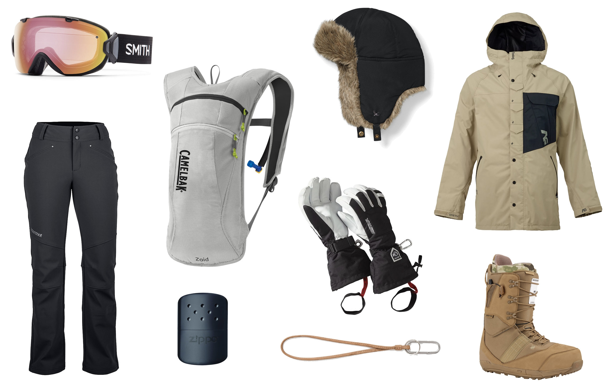 1)  Smith I/OS Photochromic Snow Goggles  2)  CamelBak Zoid Hydration Pack in Silver  3)  Eddie Bauer Down Aviator Hat in Dk Smoke   4)  Analog Zenith Gore-Tex Snowboard Jacket  5)  Marmot Wm's Kate Pant in Black  6)  Zippo 12-Hour Hand Warmer in Black  7)  Hestra Heli Glove  8)  Leather Keyring Lanyard  9)  Burton 2016 Fiend LTD Snowboard Boots UNDFTD