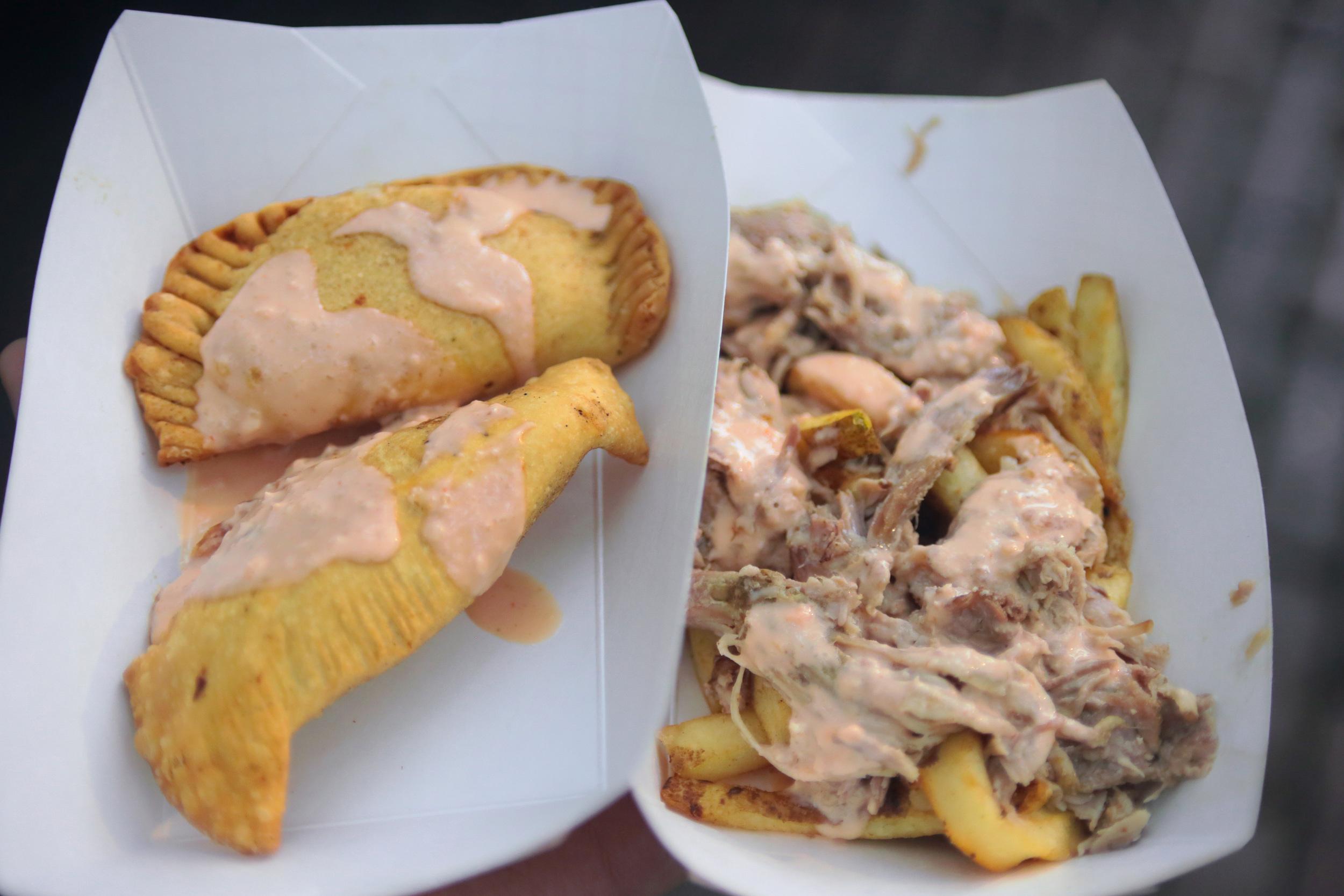 Chicken Empanadas w Pulled Pork Nacho Fries... Sauce, Bangin'!