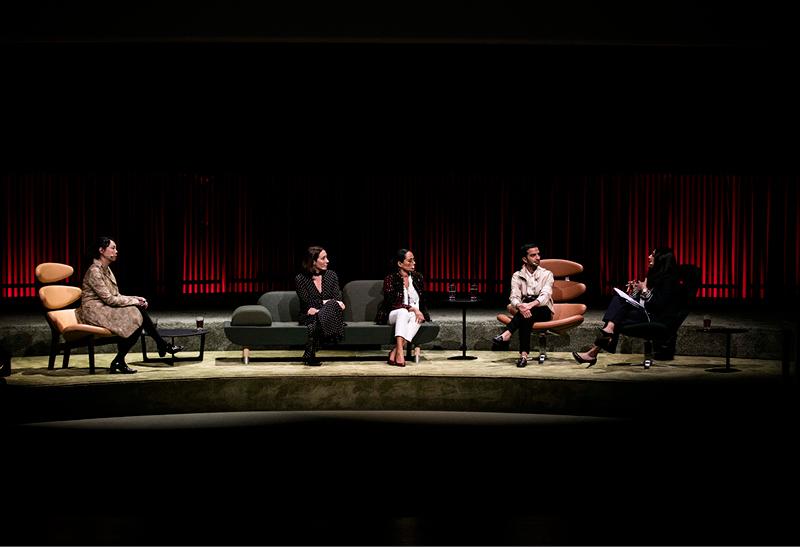"Panel Debate ""The Power of Media"" with Imran Amed (BoF), Bandana Tewari (Vogue India), Edwina McCann (Vogue Australia), Shaway Yey (Modern Media) and Monita Rajpal (former CNN news anchor)."