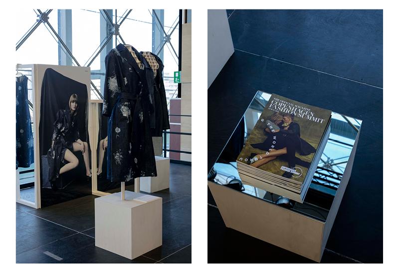 Exhibition view of the Denim Challenge, denim coat on display by   Svilu  .