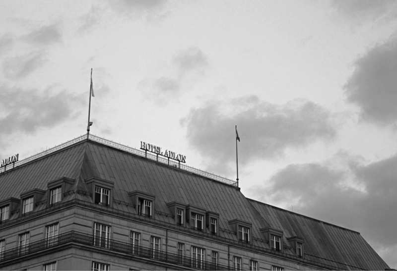 The initial Greenshowroom fair at Hotel Adlon. Top: Fashion presentation, bottom: Hotel Adlon from the outside.