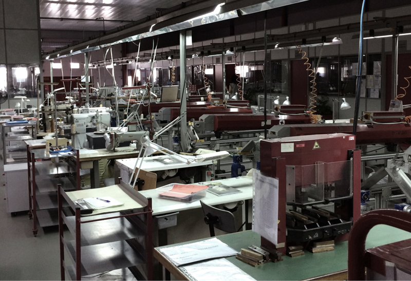 Above and below: Production facilities of Sonya Kashmiri's manufacturer in Portugal.