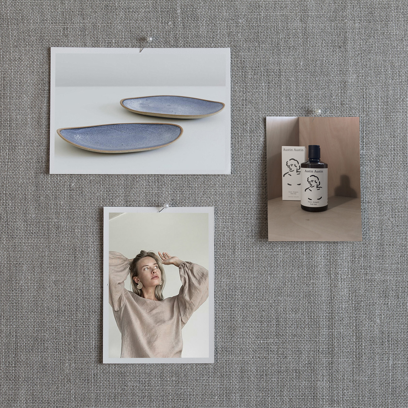 Clockwise from left to right: 1. Skandihus Ceramics, plates from £31, 2. Neroli & Petitgrain Body Soap by Austin Austin, 300ml for £14, 3. Long Sleeve Caramel Weightless Blouse by KM by Lange for €109