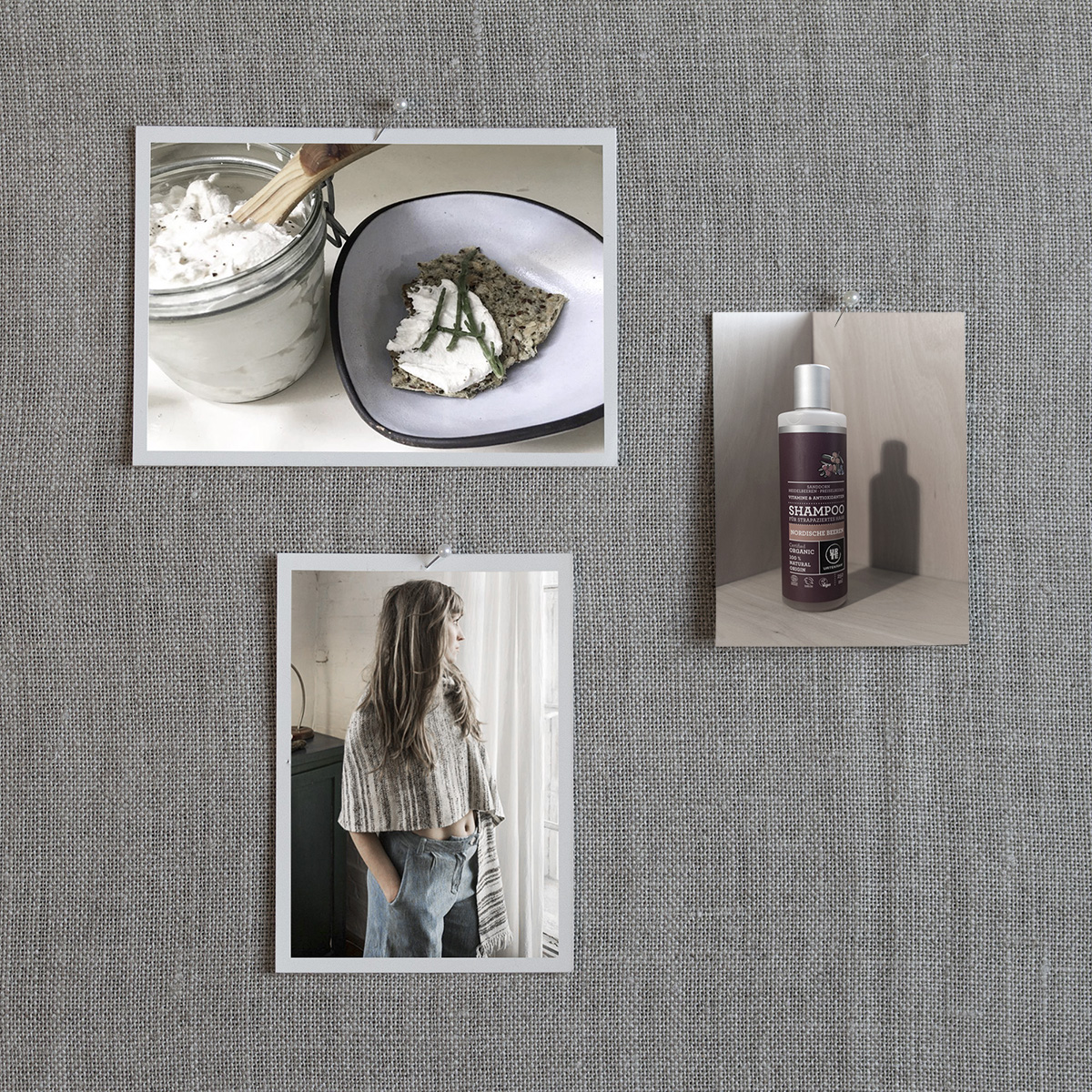 Clockwise from left to right: 18. The Moon Juice Cookbook for $30, 19. Stocking filler: Nordic Berries Shampoo by URTEKRAM, 250 ml for €6.95, 20. Oversize Hand-spun & Hand-woven Lambswool Scarf Nyima by KAL for €159
