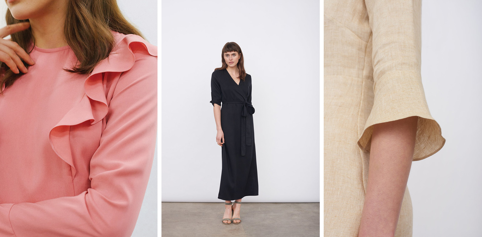 From left to right: the Tencel Ruffle Dress, the Tencel Wrap Dress, and the Linen Day Dress.