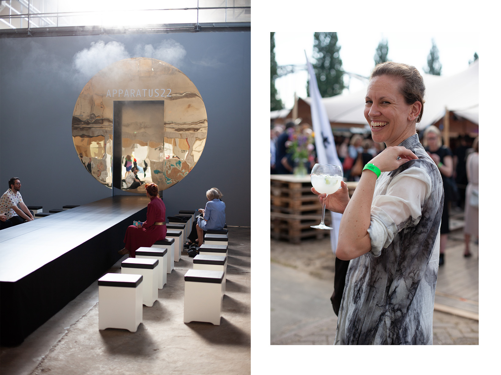 Left: Apparatus 22, a transdisciplinary art collective founded in Bucharest, Romania, right: Melanie Bomans, contributor to Refuse Magazine and lecturer at the HKU.