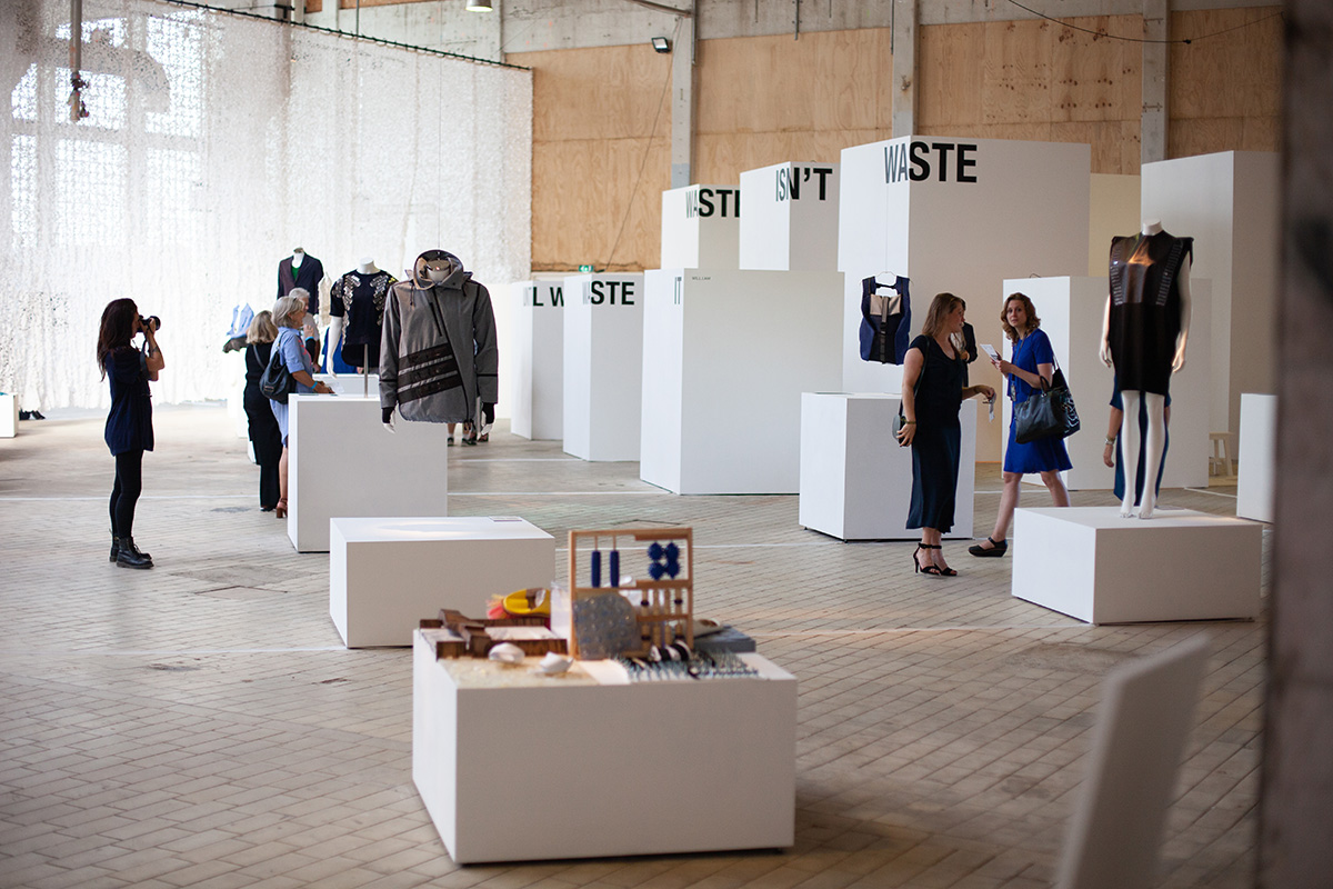 An impression of the final space, where ArtEZ, London College of Fashion, Ecco Leather, Pauline van Dongen and others are showcasing a selection of work.