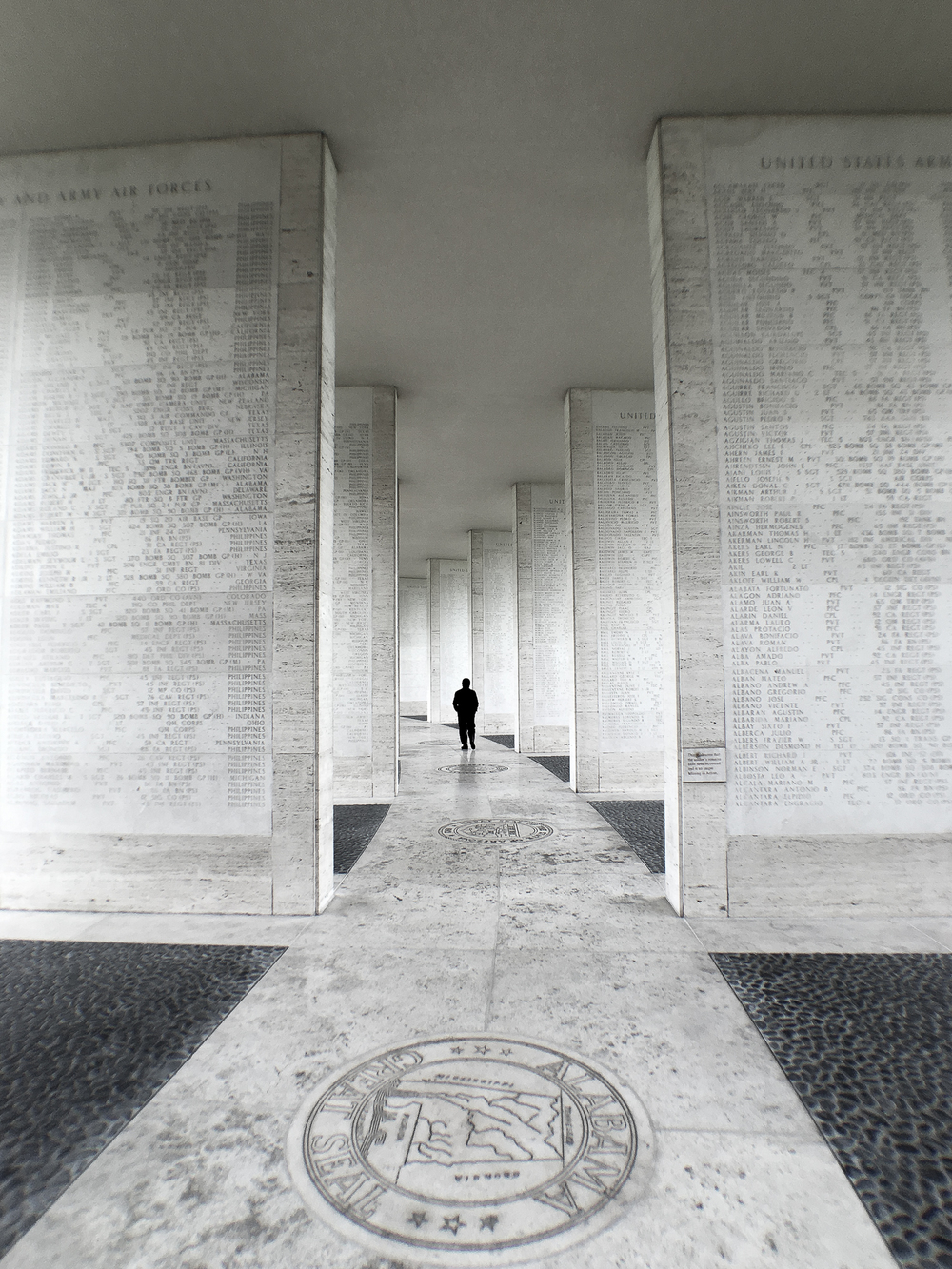 Wall of the Missing. There are about 36,000 names listed in these walls whose remains were not recovered or identified, or who were lost or buried at sea.