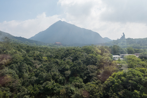 View from the  Ngong Ping Cable Car  on the way to Hongkong's Lantau Island in Tung Chung. That's the Tian Tan Buddha (also known as Big Buddha) on the right.