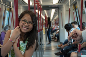 Expose your kids to public transportation early. Talia has always enjoyed the MTR, no matter how crowded, ever since she was little.