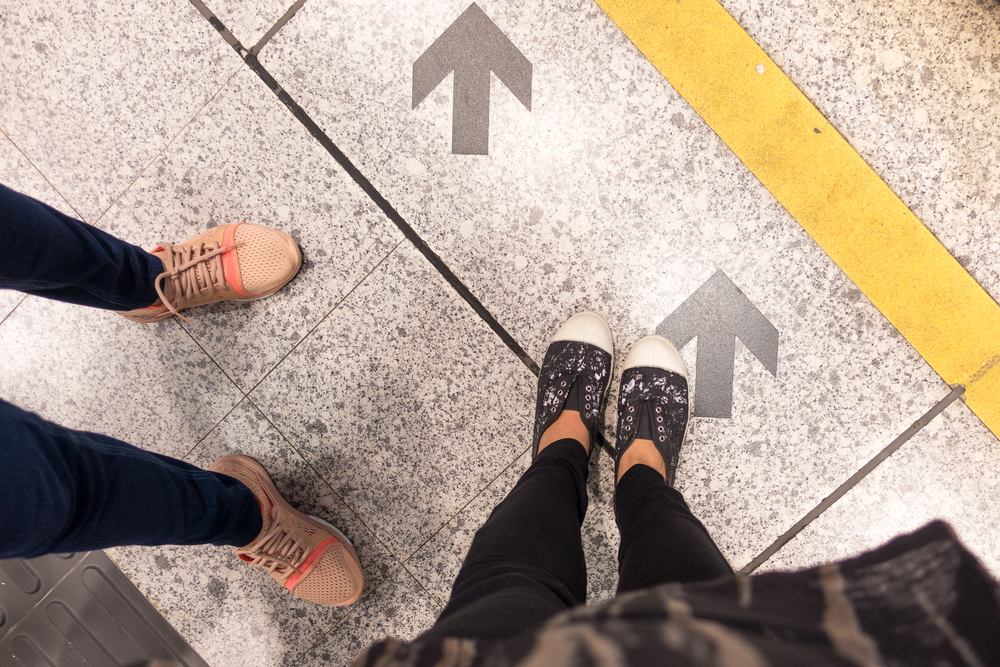 Comfortable shoes are a must! I always wear my Bensimon sneakers when traveling. My mom prefers gym shoes and she's lucky she found these nude Stella McCartney sneakers on sale at the mall adjacent Tung Chung station.