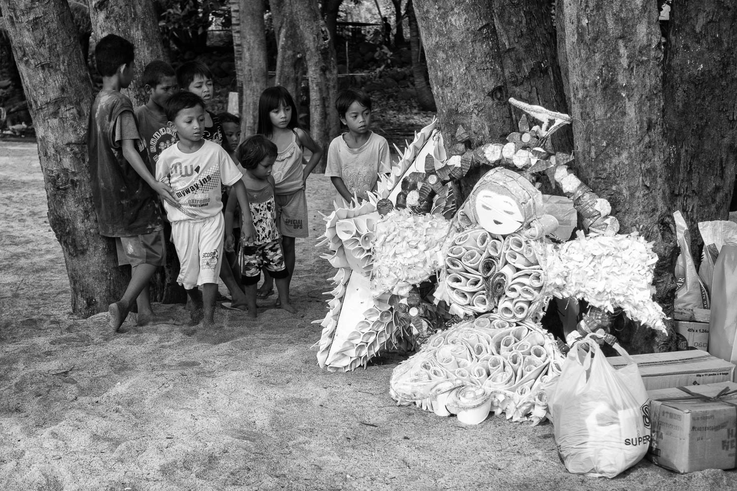 Beautiful Christmas decors made from recycled materials such as water bottles and rubber slippers were brought to Sampaloc Cove.