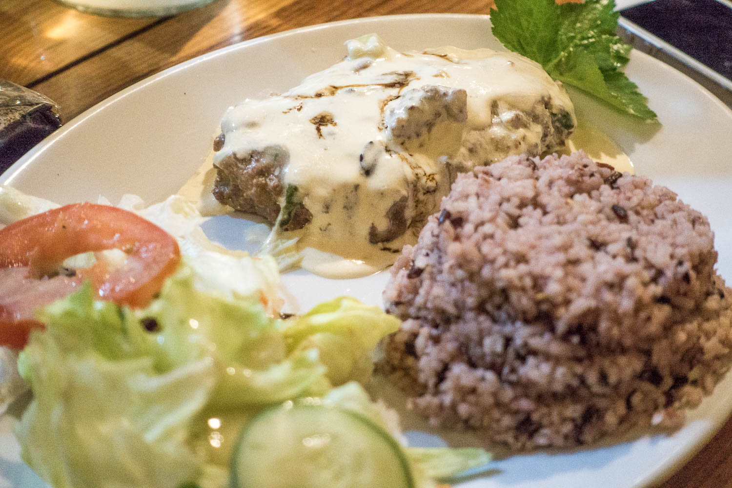 Sagada Brew 's Beef Burger Steak. Meat was ok, the rice was divine! We brought home a few packs of mountain rice and cooked it the Sagada way when we got to Manila -- ratio is 3 tbsps. of mountain rice for every cup of white rice. But soak the mountain rice first in water, keep in the refrigerator for at least 20 minutes (better overnight) prior to cooking.