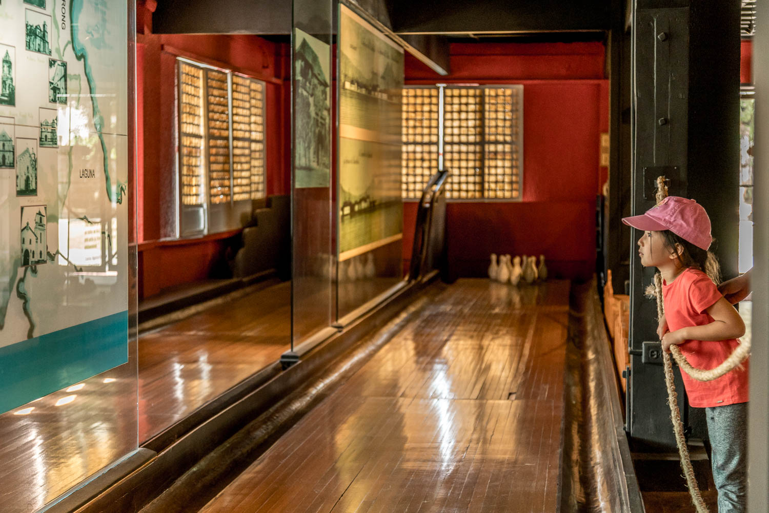 Yep, that's a bowling alley -- proof that Aguinaldo comes from a well-off family.