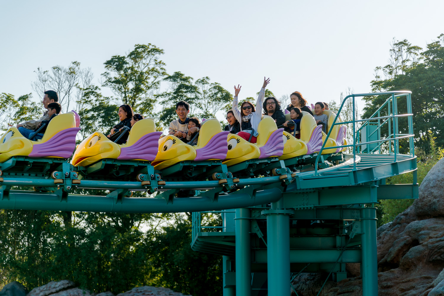 Guess who enjoyed the most at this mini-roller coaster?