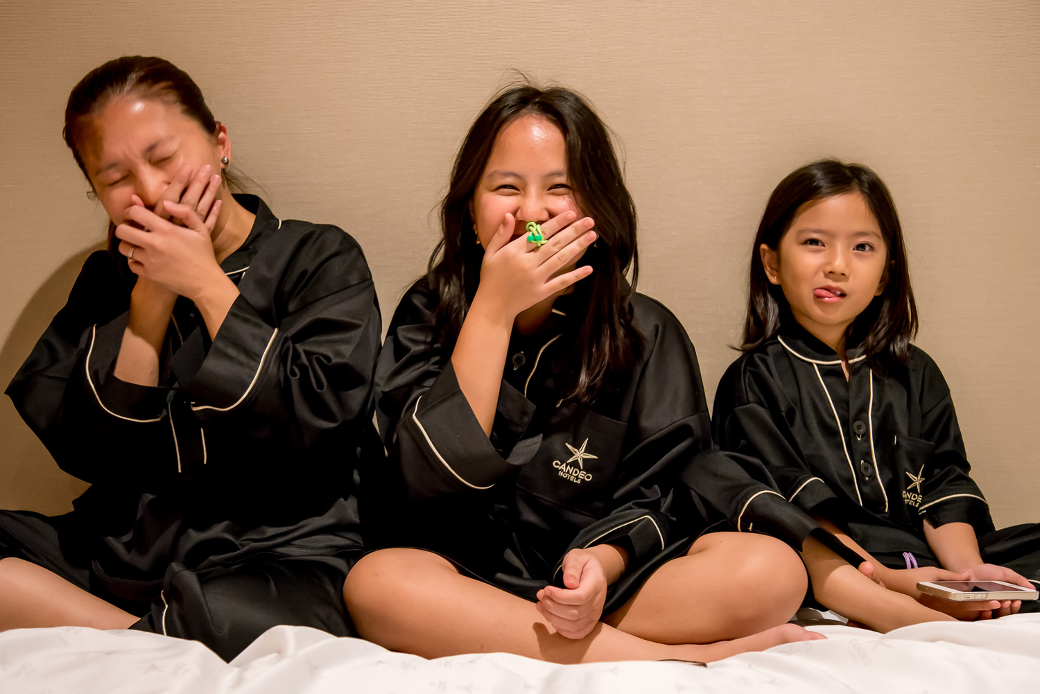 We wanted a photo because we had matching jammies and in the middle of the photo session, somebody farted and we ended up laughing. Any guesses on who's the culprit?