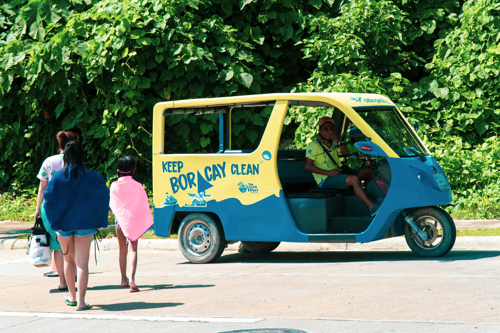 2019, Boracay Newcoast. We took this little cutie for our island tour and although it costs a wee bit more than a regular tricycle (Php 600/hour), we decided to go for this option since it wasn't as bouncy as the other one, it reduces carbon dioxide emissions, and it minimizes air pollution.