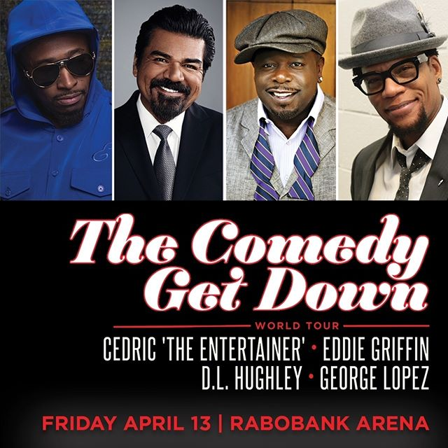 Tickets on sale now, Bakersfield! The Comedy Get Down Tour is back by popular demand and hits the Rabobank Arena Friday, April 13. Don't miss your chance to see these four comedy legends LIVE on one stage.  #cgdtour #comedygetdown #cedrictheentertainer #eddiegriffin #dlhughley #georgelopez #bakersfield #bakersfieldca #bakersfieldcalifornia #rabobankarena