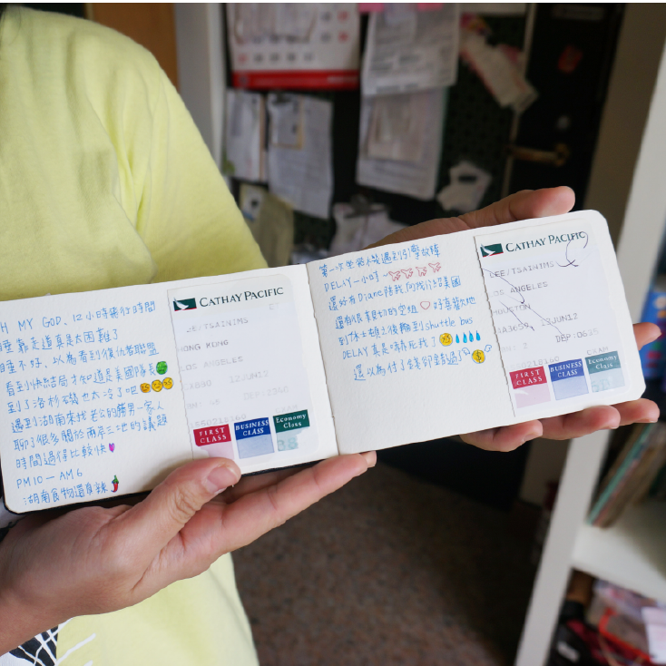 Every detailed  interaction  with Cathay Pacific is written down on this user's travel journal, such as story with the cabin crew and the feeling about it