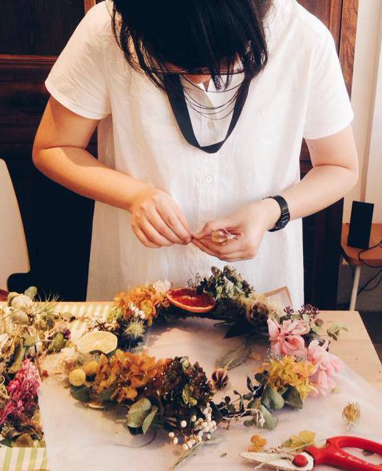 Summer wreath in the making -