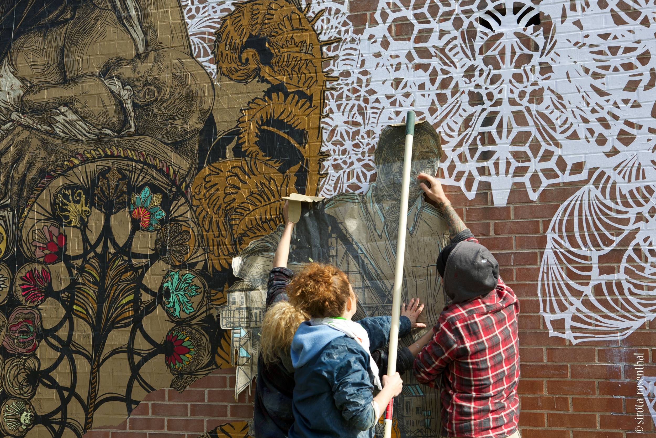 Artist Swoon working in New Haven