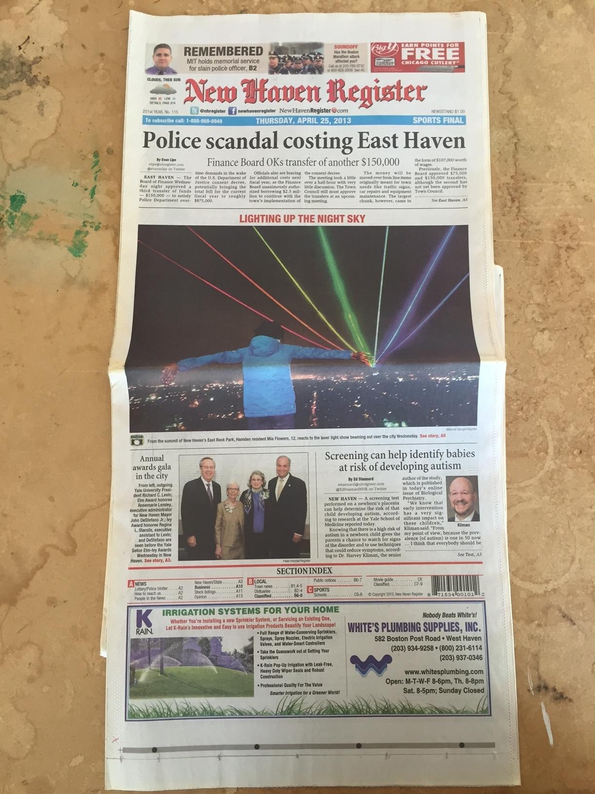 New Haven Register - April 25, 2013