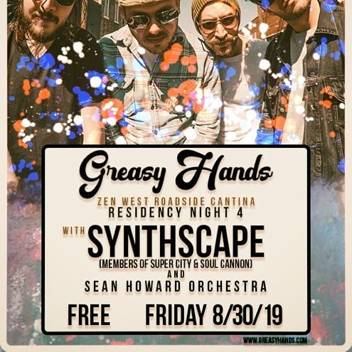 Hello Baltimore!  Night 4 of our FREE @zenwest Residency will be a sensationally sizzlin' greasy fajita for the eons -- featuring the groovy fade sliders and knob twisters of Synthscape and fellow festival rockers @seanhoward_orchestra  Synthscape Four synths and drums  Greasy Hands After the release of their ambitious 70-minute double album in October 2018, Greasy Hands has been honing their eclectic sound - an amalgam of dynamic, progressive compositions with rock, funk, and psychedelic influences and a flare for the absurd.  Sean Howard Orchestra The Sean Howard Orchestra, formed in late 2016, is your new working mans band, combining rock n roll, jazz, blues, and jamfunk to give you a nice cross of the music you want to hear.  #baltimoredrummers #baltimoremusic #baltimoremusicians #baltimoremusicscene #progrock #psychedelicrock #musicians #progressiverock #synthpop #synthesizer #marylandmusic #music