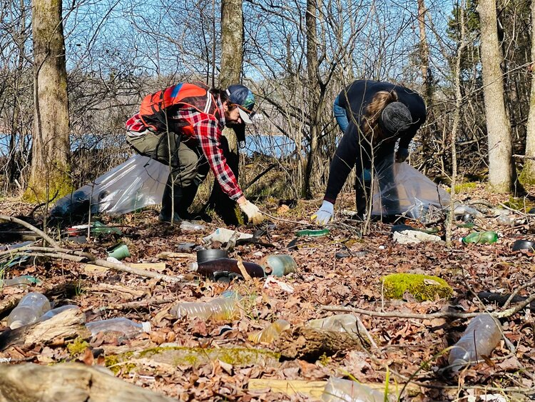 Litter collection on Watts Bar Lake of the Tennessee River during the Roane County cleanup.