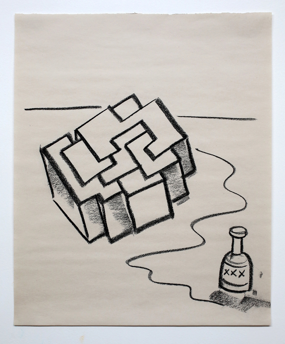 "Untitled (Cube w/ Booze) charcoal on paper 17x14"" 2016"