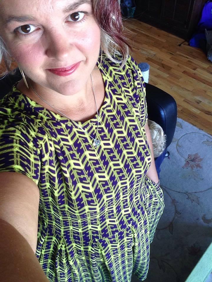 LuLaRoe Amelia dress, $65, size 2XL. Do you spy Arlo's little blond curls?