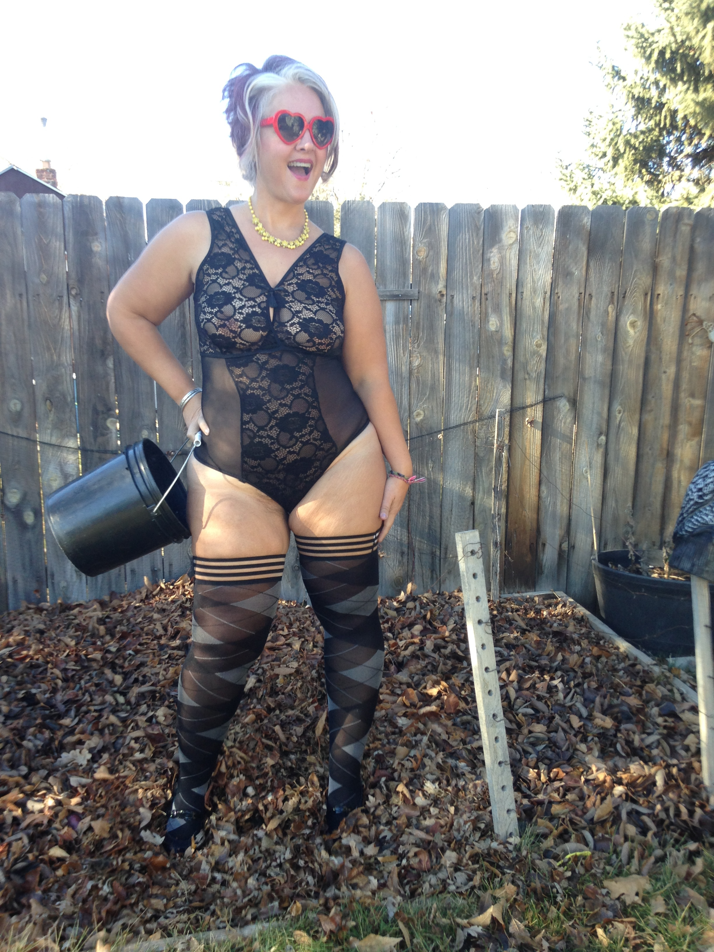 Muva Curve Lace Gartered Teddy , size 1X/2X, $48 with the  Kix'ie Argyle Thigh Highs , size C, $25