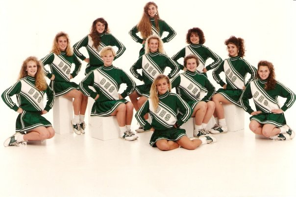 I was also captain of the junior varsity cheer squad the year I decided to chop my hair off. You can see me in my feminist rebellion germinating phase here second from the right.