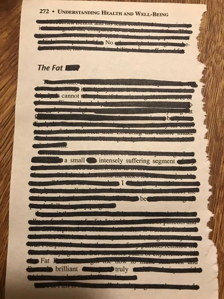 My black out poetry reading:  No, The Fat cannot b(e) a small intensely suffering segment  I be  Fat  brilliant  truly