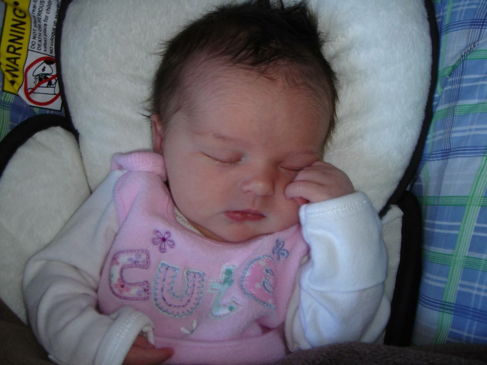 Our sweet baby Alice the day we brought her home from the hospital, April 2008
