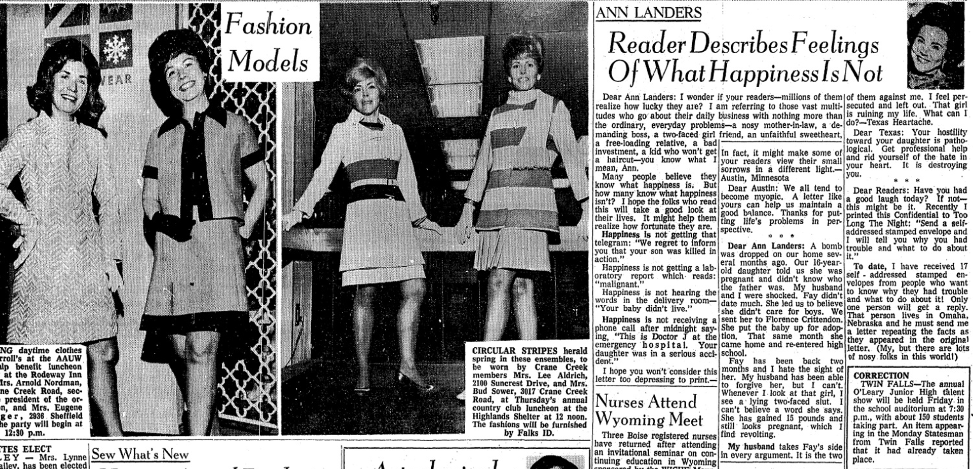 A mom's shocking letter to Ann Landers filled with slut shaming and fat shaming of her pregnant daughter, printed in the  Idaho Statesman,  March 17, 1970