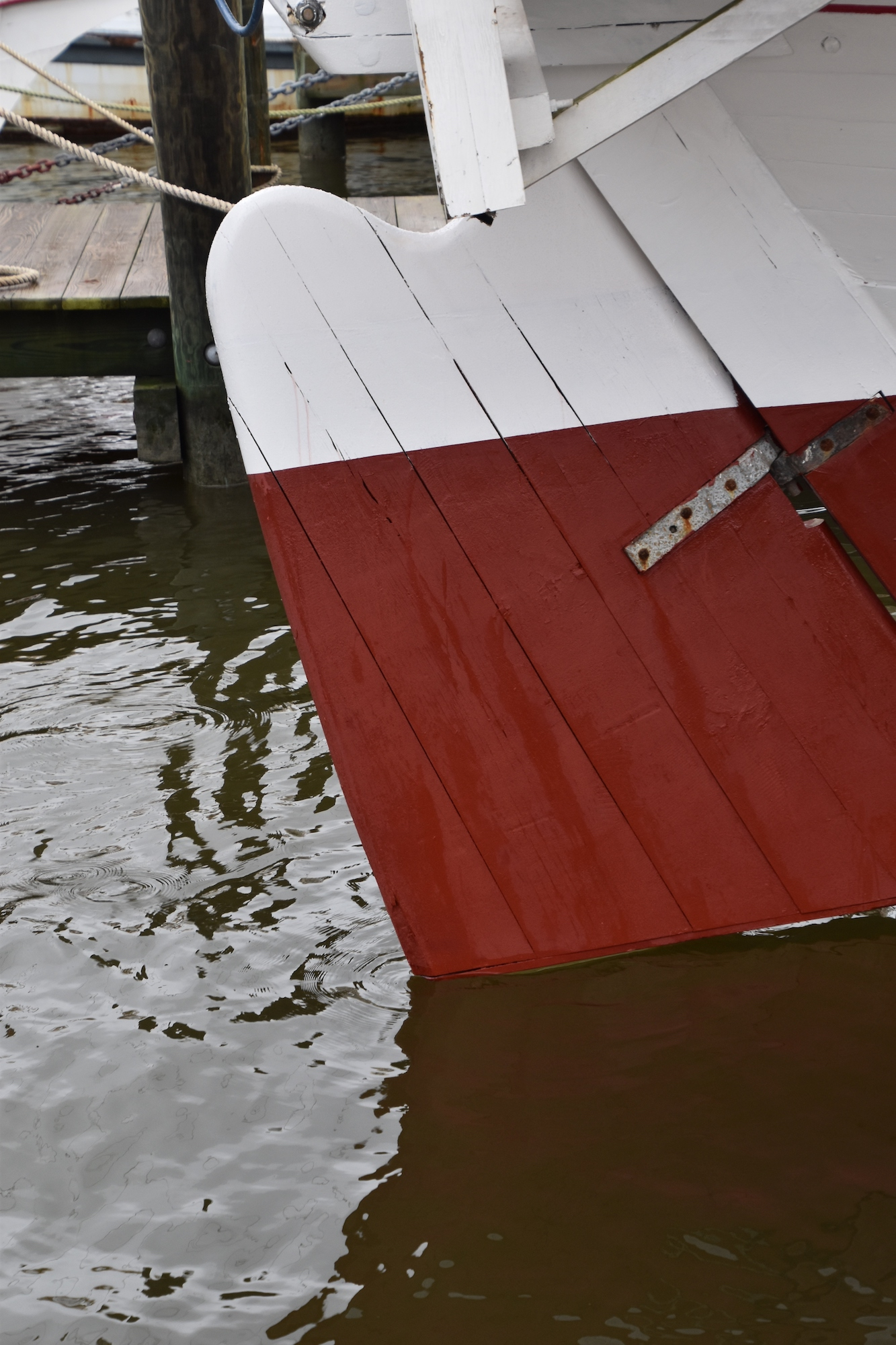 Bugeye  Edna Lockwood's  rudder touches the Miles River again on Saturday, Oct. 27, at the Chesapeake Bay Maritime Museum.