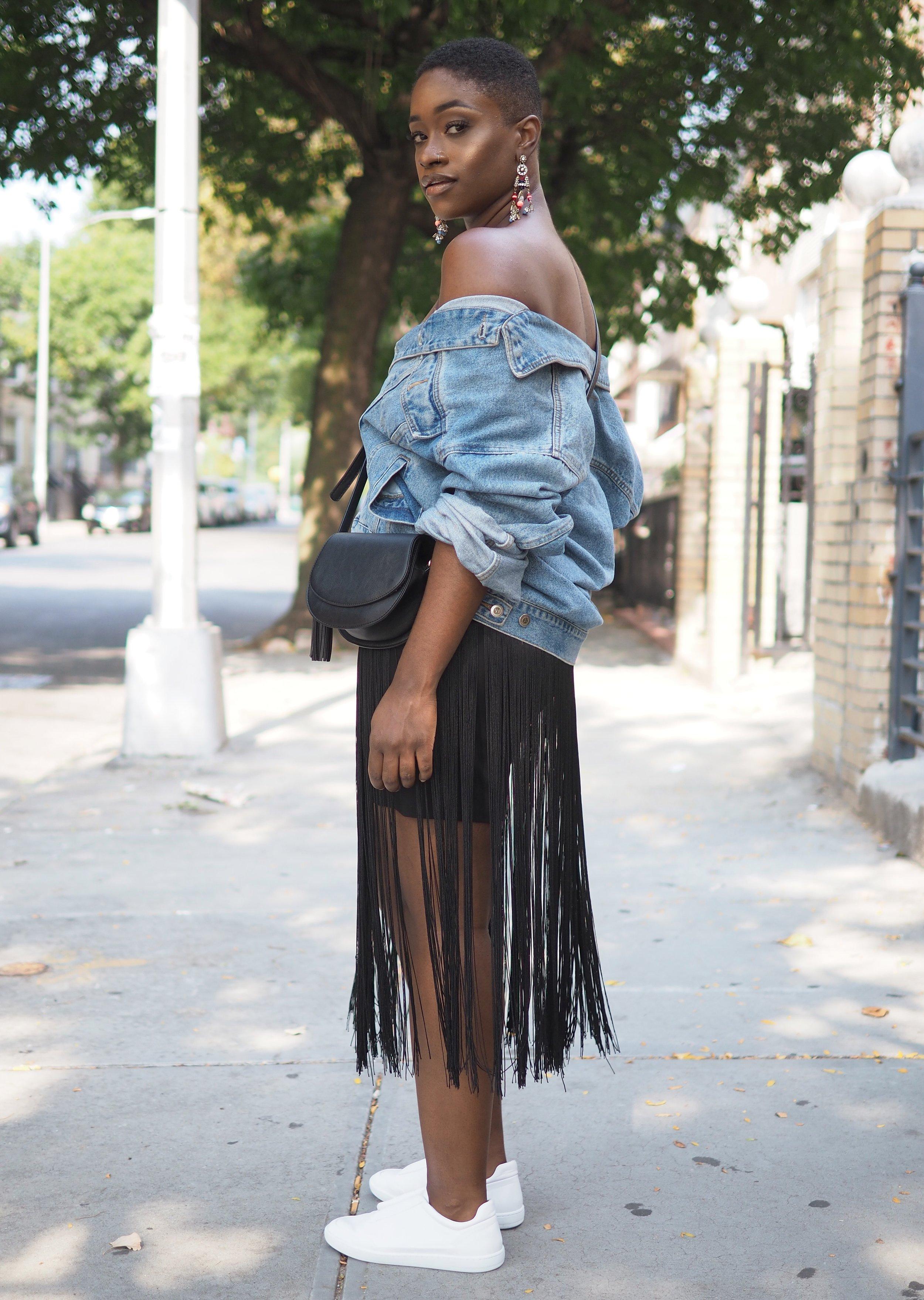 The Language of Yolande Denim Jacket and Fringe Skirt